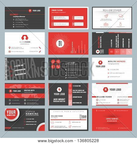 Business Card Templates. Stationery Design Vector Set. Red And Black Colors. Flat Style Vector Illus