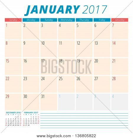 January 2017. Calendar Planner For 2017 Year. Week Starts Sunday. Stationery Design. 3 Months On Pag