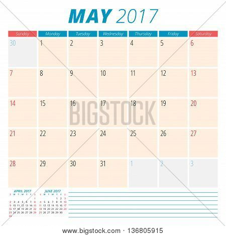 May 2017. Calendar Planner For 2017 Year. Week Starts Sunday. Stationery Design. 3 Months On Page. V