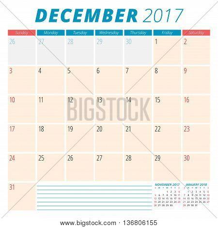 December 2017. Calendar Planner For 2017 Year. Week Starts Sunday. Stationery Design. 3 Months On Pa