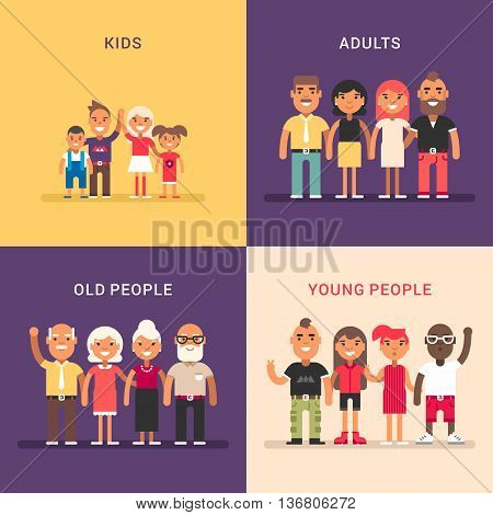 A set of four colored flat vector illustrations. Kids adults old people young people.