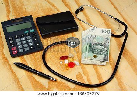 Stethoscope On Polish Money  - Medical Concept