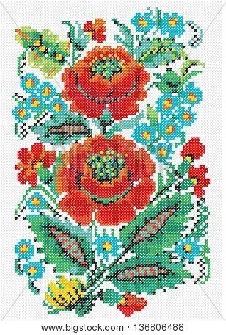 Petrikov painting, Ukrainian pattern embroidery, floral motif, national pattern, bright, red, green, cross stitch