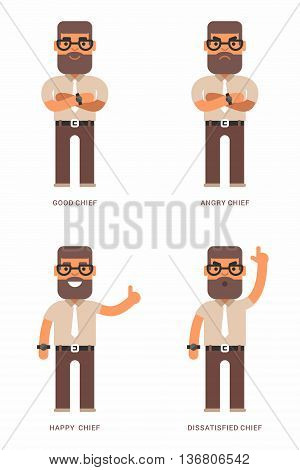 Good angry happy dissatisfied chief. A set of four colored flat vector illustrations. Different moods