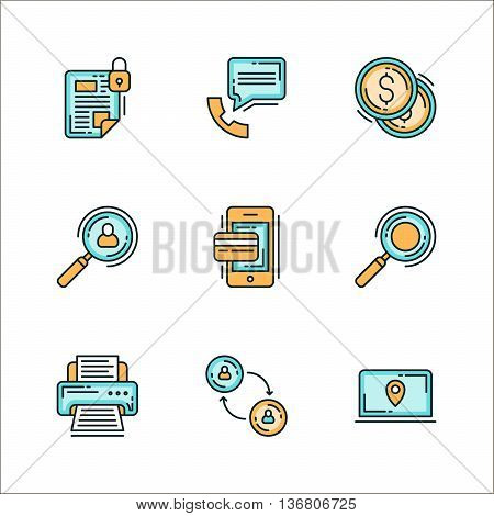 Icons with business related processes. Colored flat vector illustration. Icons isolated on white background. Keeping confidential info communication money finance recruiting search printing communication finding employees. HR