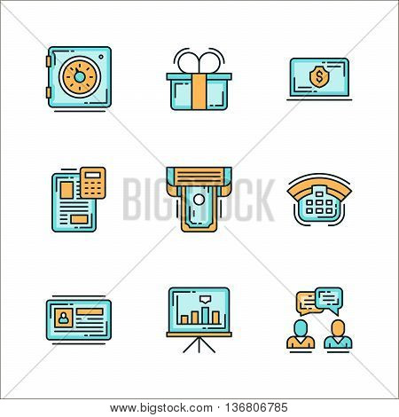 Icons with business related staff means of communication. Colored flat vector illustration. Icons isolated on white background. Safe gift dollar money file printer phone chart graph communication dialogue