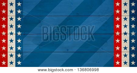 Line in a blue background against bleached wooden planks background