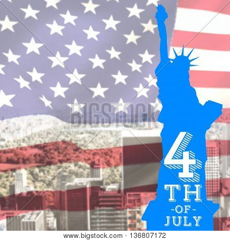 Focus on liberty statue against united states of america flag