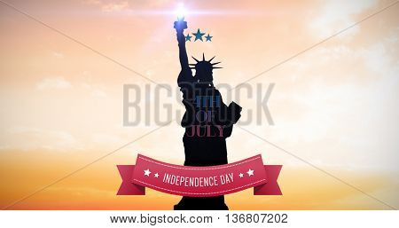 Independence day graphic against sunset with clouds