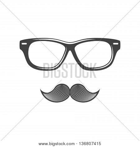 Eyewear and moustache. Black icon logo element flat vector illustration isolated on white background.