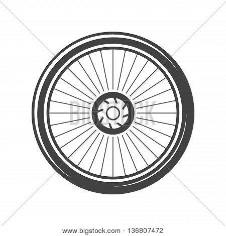 Bycicle wheel. Black icon logo element flat vector illustration isolated on white background.