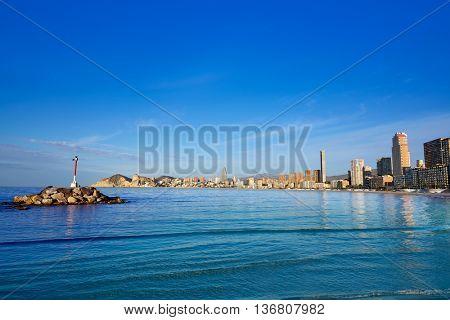 Benidorm Poniente beach in Alicante Mediterranean of Spain