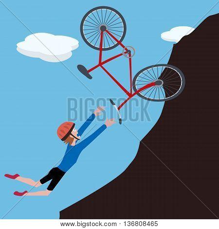 cartoon biker falls on slope - funny vector illustration