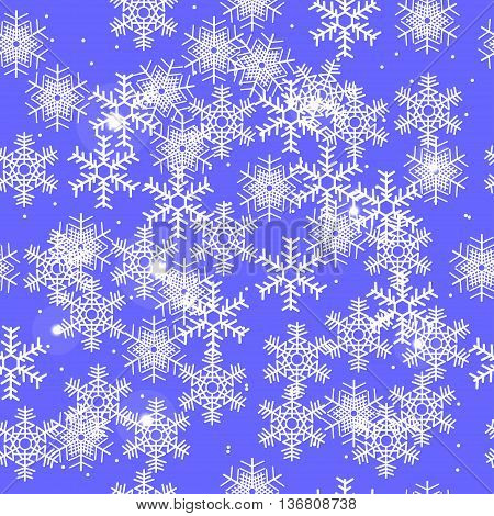 winter sky in the snow flakes, seamless pattern, light blue background