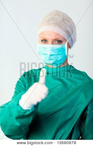 Young Female surgeon with Person in Focus
