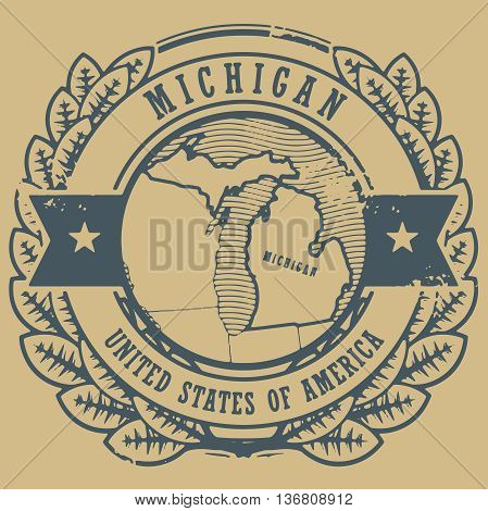 Grunge rubber stamp with name and map of Michigan, USA, vector illustration