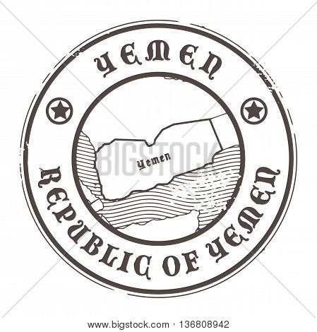 Grunge rubber stamp with the name and map of Yemen, vector illustration