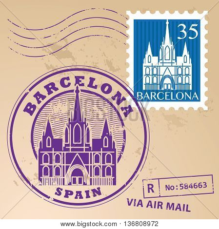 Stamp set with words Barcelona, Spain inside, vector illustration