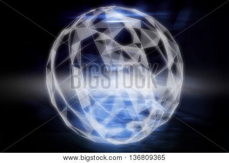 Abstract sphere against shiny futuristic technological background