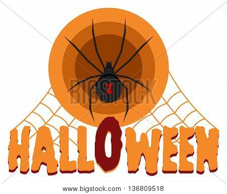Halloween celebration badge, label or logo with black widow spider and spider web isolated