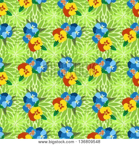 Pansy flower seamless background for design fabric print textile. Summer colorful template