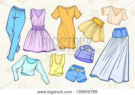 Vector fashion set of woman's clothes: dresses, skirts, jeans, shorts, t-shirts.