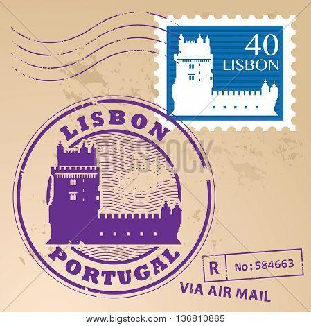 Stamp set with Belem Tower and the words Lisbon, Portugal inside, vector illustration