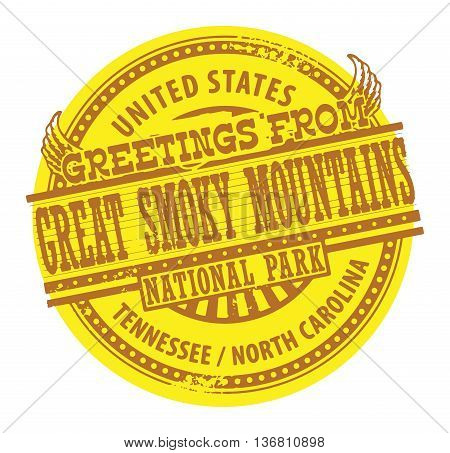 Grunge color stamp with text Greetings from Great Smoky Mountains, vector illustration