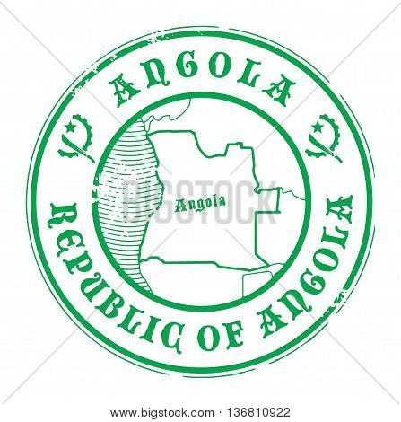 Grunge rubber stamp with the name and map of Angola, vector illustration