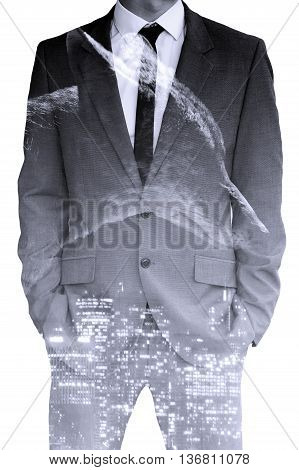 double exposure of businessman and wolf and cityscape at night
