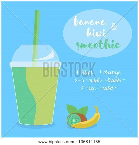 Vector illustration of Banana and Kiwi Smoothie recipe with ingredients. Template for restaurant or cafe menu.Smoothie isolated,Smoothie recipe,Smoothie glass,Smoothie vector,Smoothie fruit,Smoothie breakfast