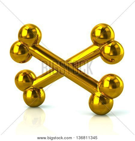 3D Illustration Of Crossed Golden Bones