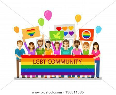 LGBT community. Gay parade, holiday, celebration icon. Happy people with placards