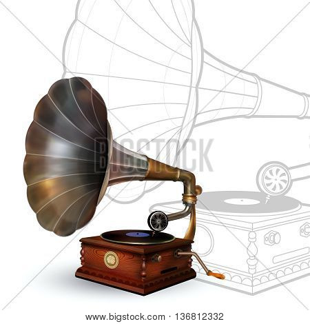Vintage gramophone. Vector Retro Party poster. Music