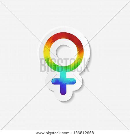 Gender identity icon. Female Venus symbol. Sticker with watercolor effect. Vector illustration.