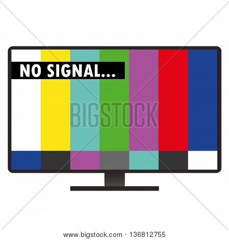 Inscription on the TV screen - no signal flat design vector illustration isolated on white