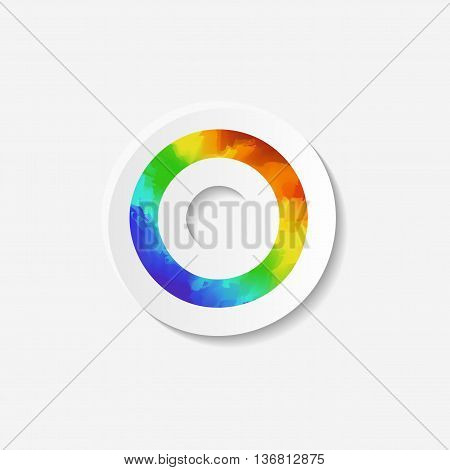 Gender identity icon. Asexual symbol. Sticker with watercolor effect. Vector illustration.