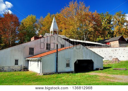 Hopewell Furnace Pennsylvania - October 15 2015: The Cast House and Foundry at Hopewell Furnace National Historic Park *