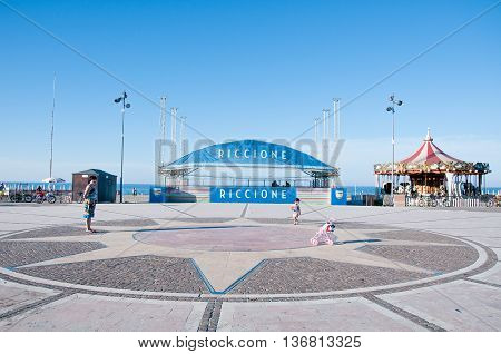 7 june 2016-riccione-italy- square with the carousel located on the seafront in Riccione on the Adriatic coast
