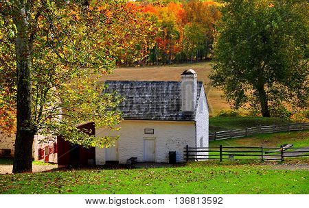 Hopewell Pennsylvania - October 15 2015: Buckley & Brooke Office and Store at Hopewell Furnace National Historic Site