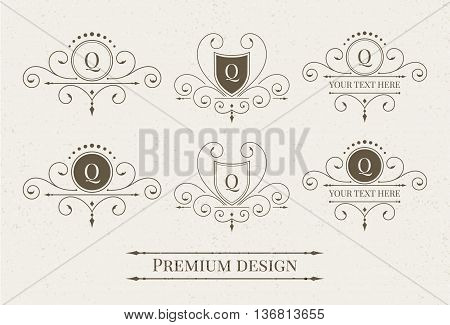 Set of luxury logo and monogram templates. Elegant calligraphic ornament pattern. Vector illustration for your restaurant, boutique, hotel, heraldic, jewelry, fashion and other business.