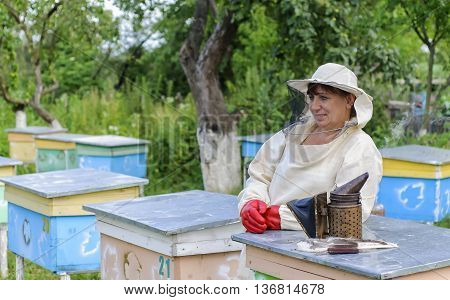 Portrait of a woman beekeeper Beekeeper stock