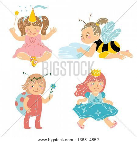 Set of four little girls playing in various costumes. A butterfly fairy, a bumblebee, a ladybird and a princess. Vector illustration.