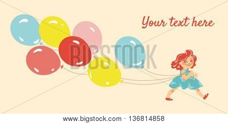 Happy, smiling little girl wearing a blue dress and red shoes walking with 7 coloured balloons on a peach background with space for your text