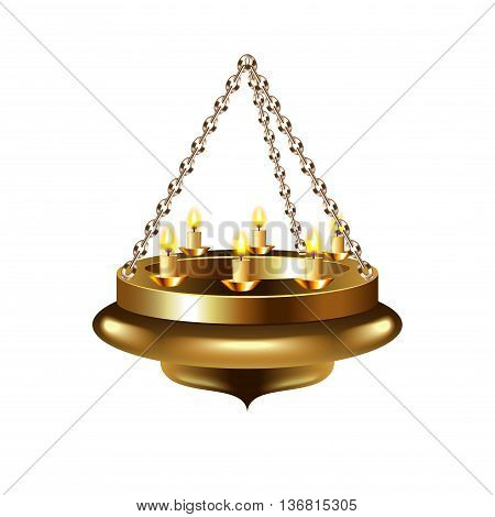 Medieval chandelier on chain isolated photo-realistic vector illustration