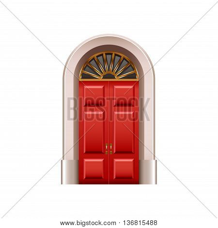 Old red door isolated on white photo-realistic vector illustration