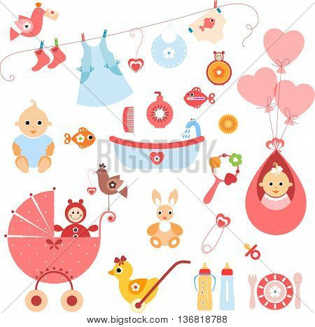 Beautiful set of newborn elements. A set of cute items for newborn baby girl.