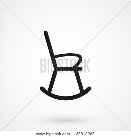 Rocking Chair Icon On White Background In Flat Style. Simple Vector