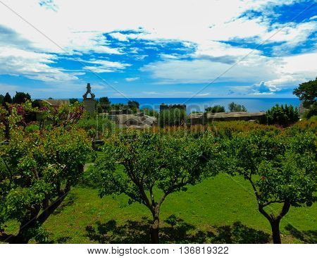 Bautiful public garden in Capri island, Italy