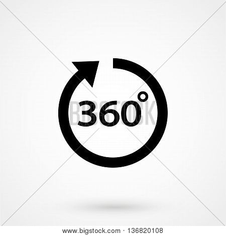 Angle 360 Degrees Icon On White Background In Flat Style. Simple Vector